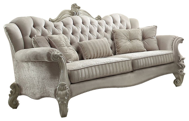 Elegant Versailles Velvet Sofa With 5 Pillows, Ivory And Bone White Finish