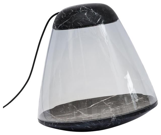 Apollo Marble and Glass Floor Lamp, Black