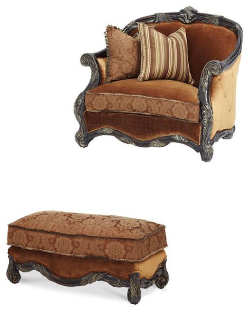 Fabulous Essex Manor Wood Trim Chair And Half Ottoman Set 2 Piece Set Spiritservingveterans Wood Chair Design Ideas Spiritservingveteransorg