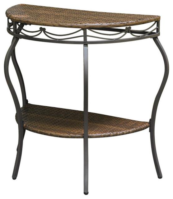 60 Mid Century Modern Vintage Half Moon Coffee Table: Valencia Resin Wicker/Steel Two Tier Half Moon Wall Table