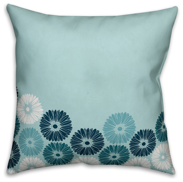 Blue Microsuede Throw Pillows : Shop Houzz Designs Direct Creative Group Contemporary Blue Floral 18x18 Faux Suede Throw ...