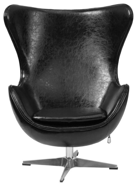 Egg Chair Accent Chairs.Leather Egg Chair Black 33 75 X30 X43