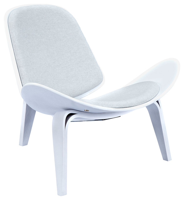 Mid Century Modern White Shell Chair Curved Deck Lounge
