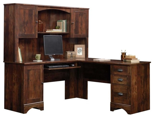 Sauder Harbor View Corner Computer Desk With Hutch, Curado Cherry Desks  And Hutches