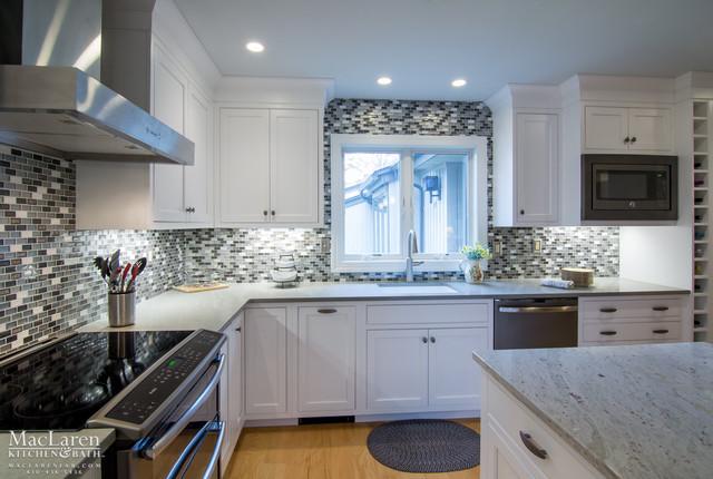 White Cabinetry With Zodiaq Dove Grey Perimeter Countertops Transitional