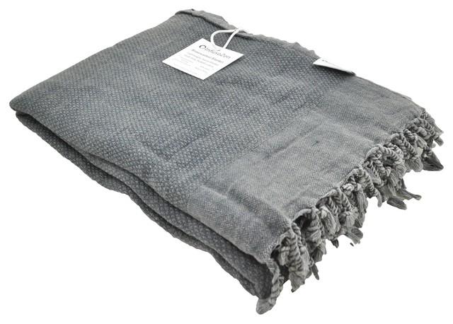 Faded Black Stonewashed Turkish Throw Blanket.