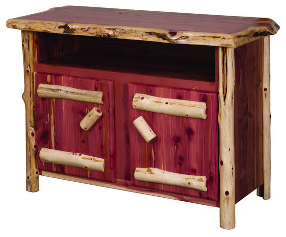 Rustic Red Cedar Log TV Stand