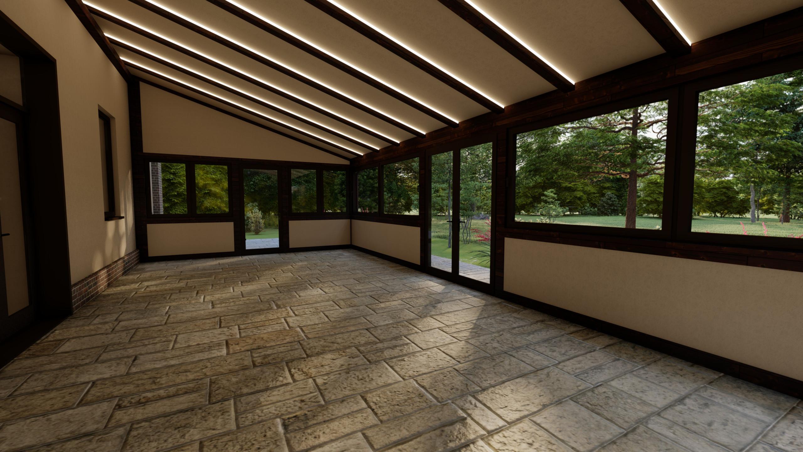 20.343 Veranda in legno lamellare di conifera