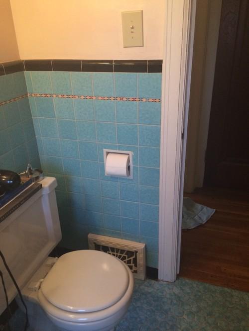 Ugly turquoise tile bathroom-help!!
