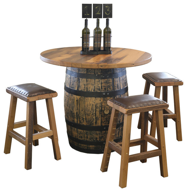 reclaimed barn wood round barrel pub table and stools 5 piece set rustic indoor pub and. Black Bedroom Furniture Sets. Home Design Ideas