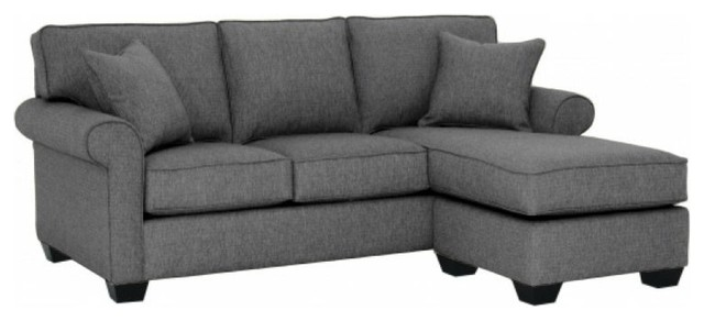 Lafayette Reversible Chaise Sofa, Smoke Transitional Sectional Sofas