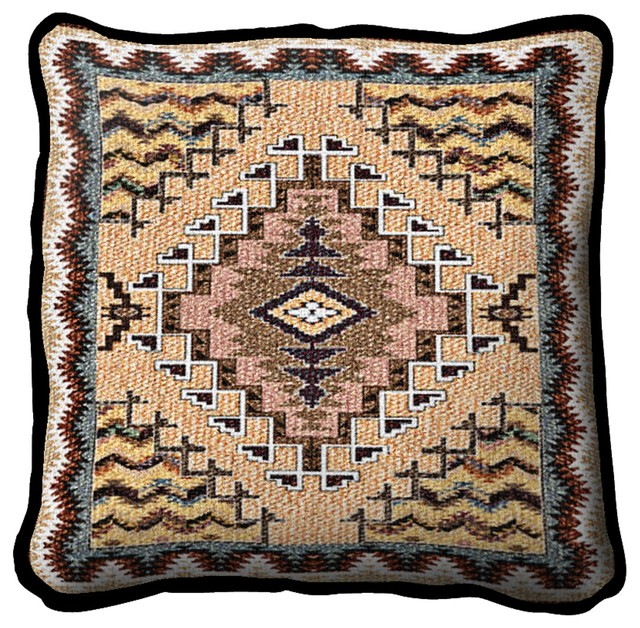 Southwestern Pillows And Rugs : Southwest Butte Clay Pillow - Southwestern - Decorative Pillows - by Fine Art Tapestries