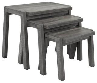 Brassex Nesting Tables, Set of 3, Gray