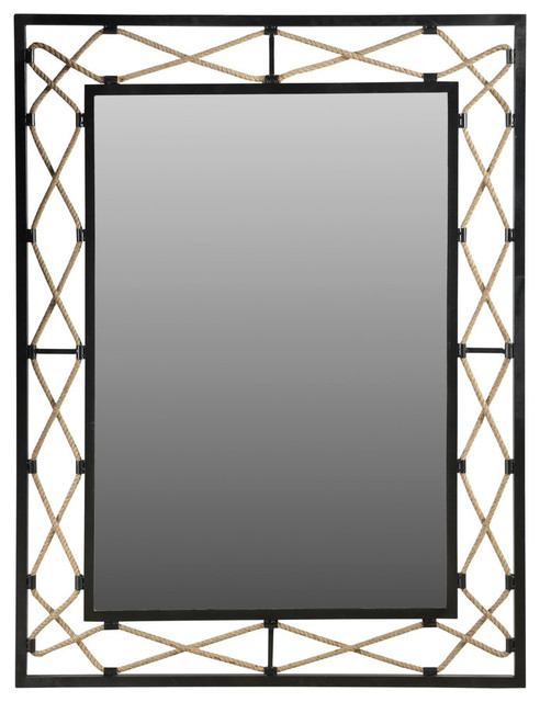 Redondo Rigby Mirror With Iron Frame And Decorative Rope Inserts.