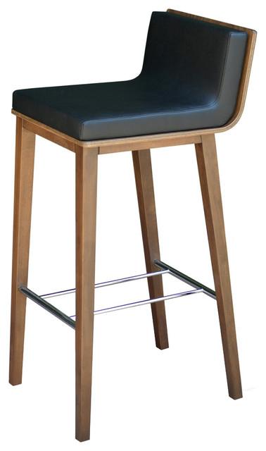 Plywood Walnut Finish Corona Wood Bar Stool Dallas Leatherette Seat Black