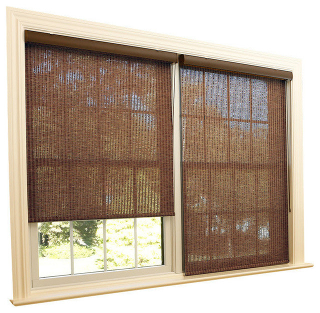 "Samoa Premium Single Roller Window Shade, Brown, 35""."