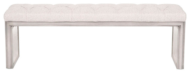Vanguard Furniture Tessa Silver Blair Tufted Mirror Bench.