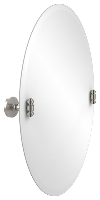 satin nickel bathroom mirror 29 quot x 21 quot oval tilt mirror satin nickel transitional 20309