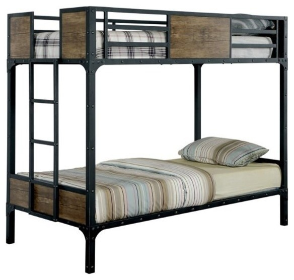 Furniture Of America Clapton Bunk Bed Black Twin Over