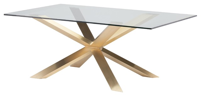 Prudence Modern Classic Glass Top Gold Dining Table 7875W
