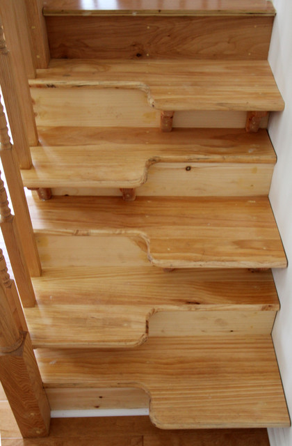 Attractive Custom Wood Stair Tread Eclectic Staircase