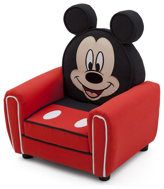 Children Red Disney Mickey Mouse Upholstered Accent Club Kids Arm Chair
