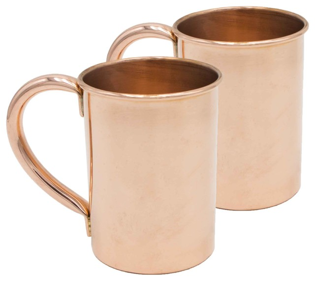 Extra Thick Pure Copper Moscow Mule Mug  Unlined And Uncoated, Set Of 2, 20oz