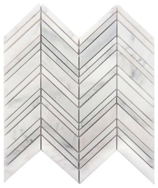 "Interlocking Honed Tile, Arabescato Carrara Chevron, 10 Sq. Ft., 12""x12""."
