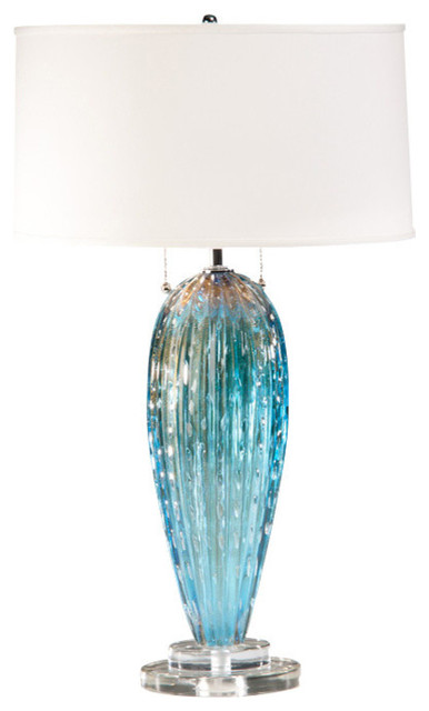 Delicieux Aqua Venetian Glass Table Lamp