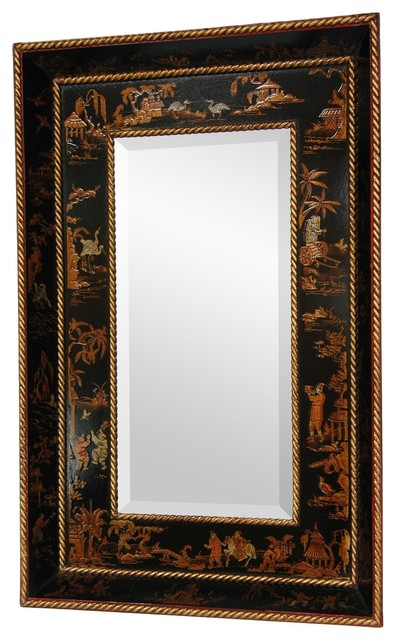 Black Lacquer Mirror Asian Wall Mirrors by Oriental Furniture