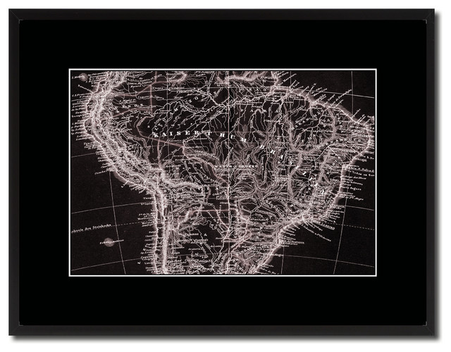 South America Brazil Old Vivid Sepia Map Print On Canvas With Frame ...