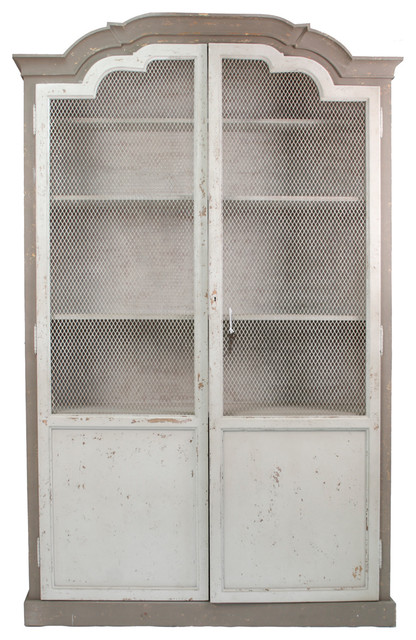 Abbey French Country Curved Top Mesh Front Distressed Grey Cabinet  traditional-storage-cabinets - - Grey Storage Cabinet Cymun Designs