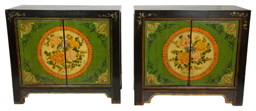 Gansu Style Hand-Painted Floral Cabinet, Set Of 2