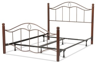 FBG Cassidy Complete Bed, Dark Walnut Wood Posts, Mink, Queen, B91835