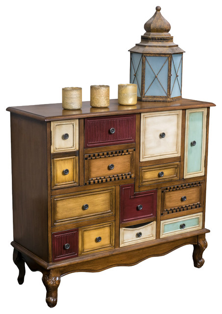 GDFStudio   Leo Multicolor Wood Chest Of Drawers Cabinet   Accent Chests  And Cabinets