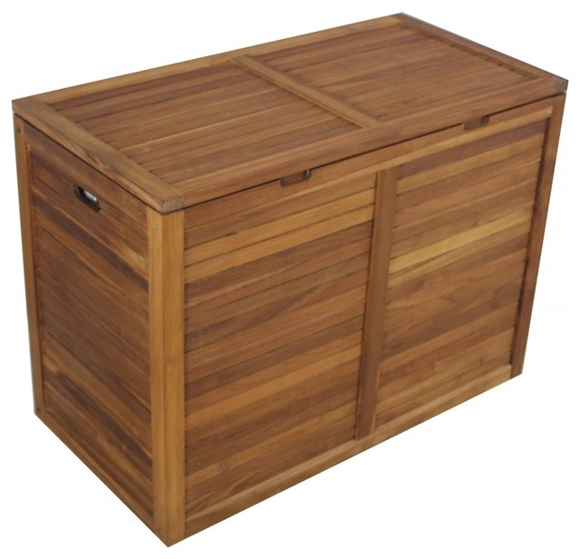 Teak Double Section Hamper- Slat Design - Contemporary - Hampers ...