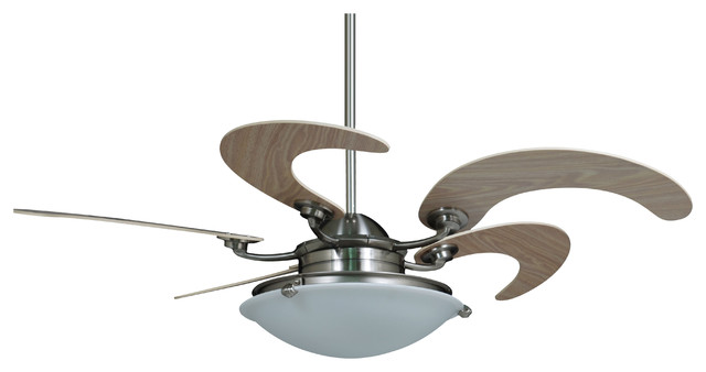 Fantastic Vento Sole Indoor Brushed Nickel Ceiling Fan 5 Blade White Oak 46 Home Interior And Landscaping Mentranervesignezvosmurscom