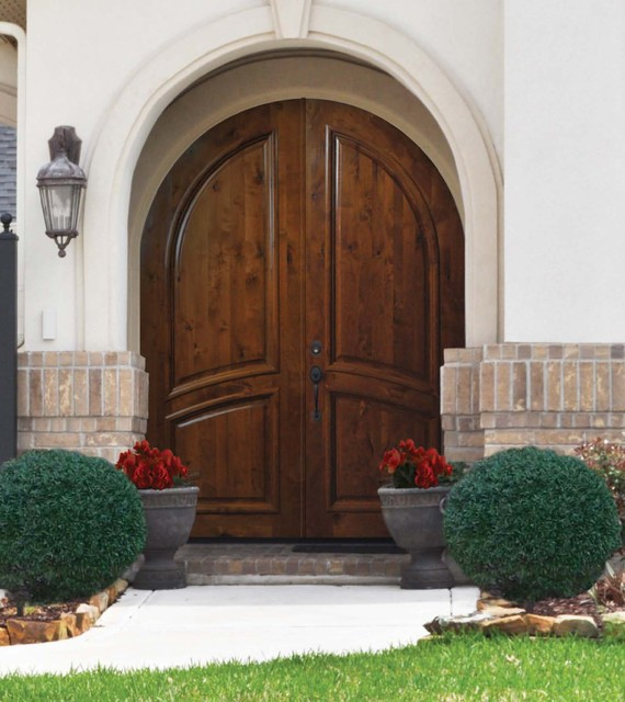 Best Exterior Doors For Home: Prehung Home Double Door 96 FSC Solid Knotty Alder Round