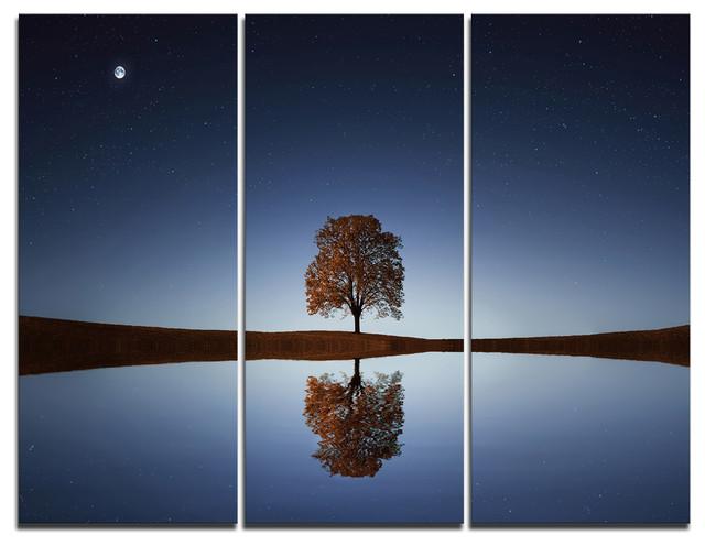 """tree Near Lake At Night"" Photography Canvas Print, 3 Panels, 36""x28""."