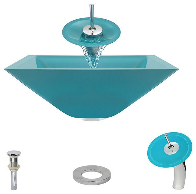Polaris P306 Turquoise C Bathroom Waterfall Faucet Ensemble