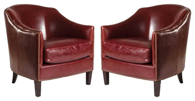 Madison Leather Club Chairs London Fog Gray Leather Set