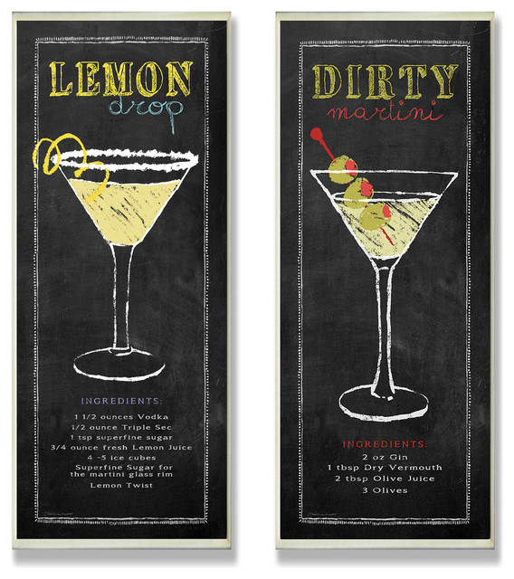 Lemon Drop And Dirty Martini Chalkboard  Wall Plaque Duo.