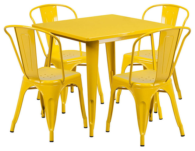 5-Piece Pub Bistr Table And Chairs Stackable, Yellow Metal Indoor/outdoor Retro.