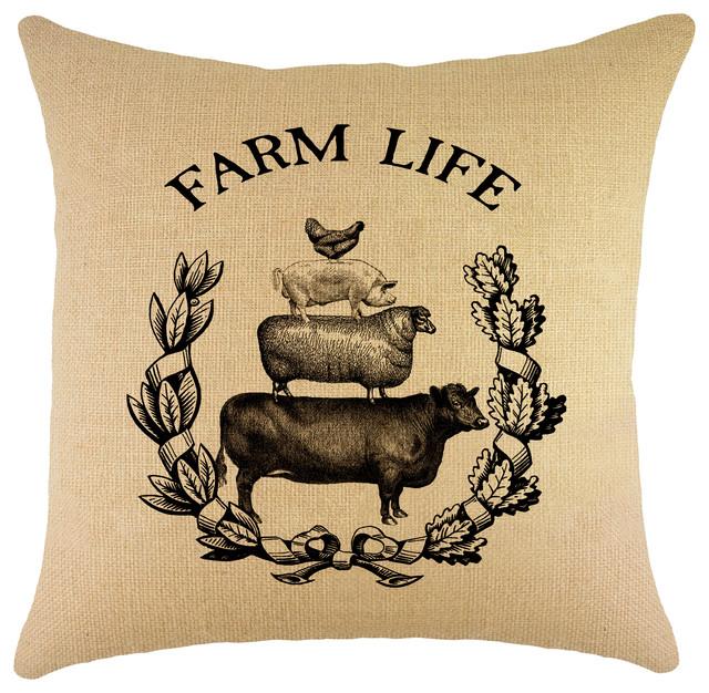 Quot Farm Life Quot Burlap Pillow Farmhouse Decorative Pillows
