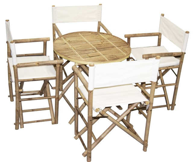 Bamboo Round Table And Director Chairs 5 Piece Set, White Tropical Outdoor