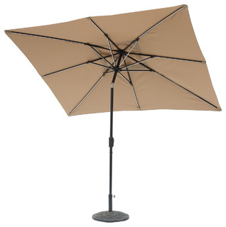 9'x7' Rectangular Next Gen Solar Lighted Umbrella, Taupe
