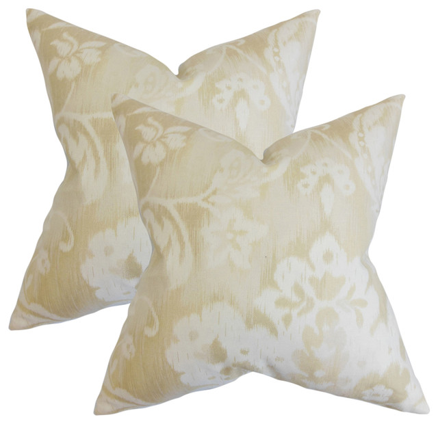Emese Floral Throw Pillows, Natural, Set Of 2.