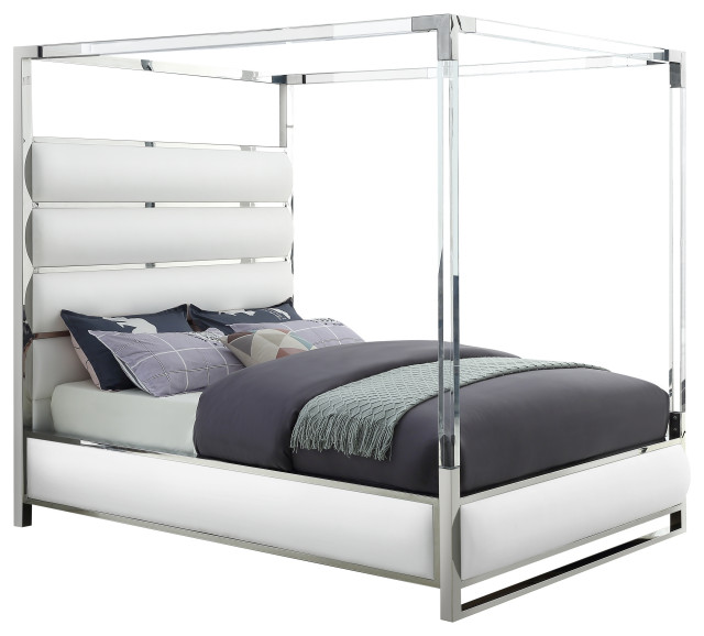 Encore Faux Leather Bed, White, King