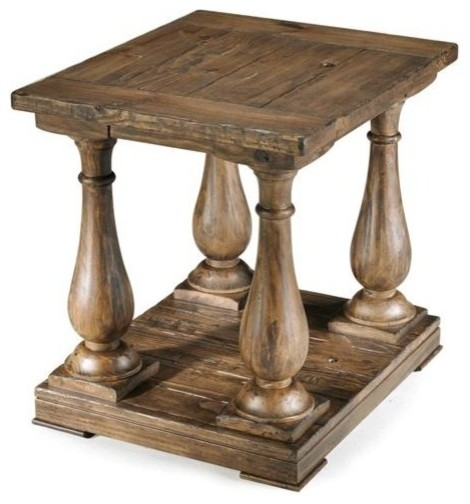 Traditional Pine Coffee Table: Densbury Natural Pine Finish Wood Rectangular End Table