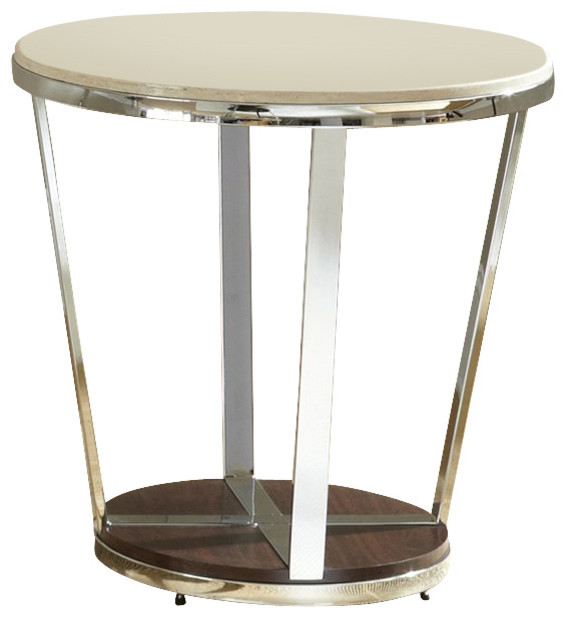 steve silver company bosco faux marble round end table in espresso contemporary side tables. Black Bedroom Furniture Sets. Home Design Ideas